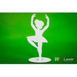 Kit 20 Bailarinas Mdf 20cm Com Base Gravada Decoração Festa
