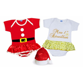 Kit Body De Natal E Ano Novo Bebê Gorro Papai Noel
