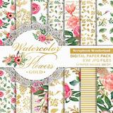 Kit Imprimible Fondos Shabby Flores Acuarela Dorado Boda