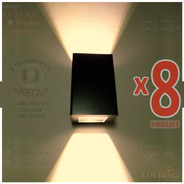 Aplique Difusor Pared Exterior C/ Lampara Led 6 Watt Pack X8