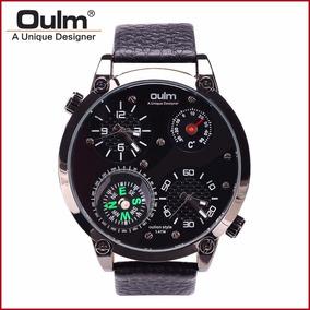 Reloj Caballero Oulm Hp3707 Brújula Termómetro 2 Horarios