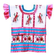 Blusa Huautla, Textil Bordado A Mano, Aripo.