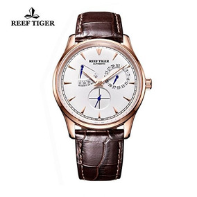 Reef Tiger Luxury Casual Watches Brown Leather Band Mens Wri