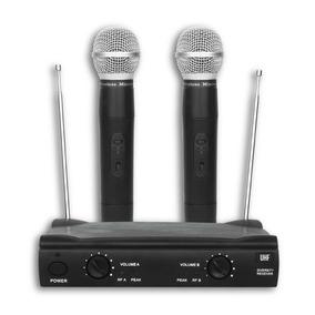 Microfone Sem Fio Uhf Duplo De Mão 2 Volumes Individuais
