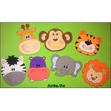 Caritas De Animales De Selva En Goma Eva De 9cm Pack X 7