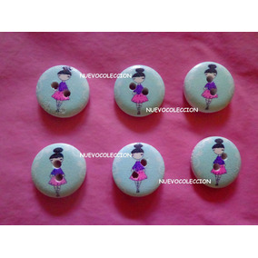 Botones De Madera Figuras De Ninas Modelo 3