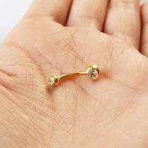 Piercing De Umbigo De Bolinha E Pedrinha Folheado A Ouro 18k