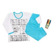 Pijama Infantil Inverno Colorir Manga Longa Presente Menino