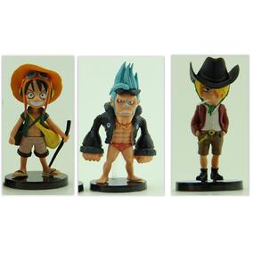 One Piece Figure Action Anime 3 Peças Luffy, Franky E Sanji