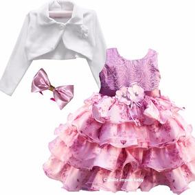 Vestido Infantil Floral Daminha Realeza Floral Rose E Bolero