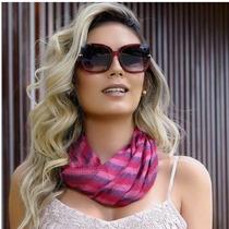Óculos Sol Feminino Rosto Redondo Quadrado Uv400 + Caixinha