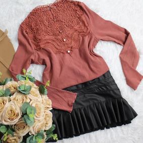 Blusas Social Feminina Renda Lace Crochet Moda Gospel 2862