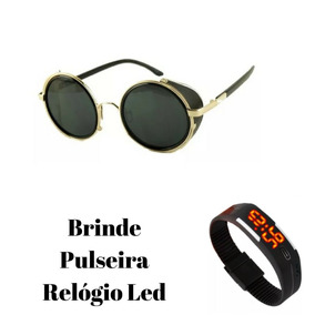 c726cb2638585 Óculos De Sol Redondo Vintage Uv400 Novela Verdades Secreta