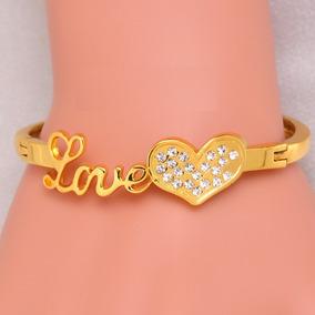97b11d7b244 Pulseira Cartier Love Com Cristais Dourada (acompanha Chave) - Joias ...