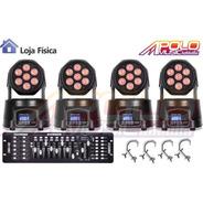 Kit 4 Mini Moving Wash 7x12w + Mesa Dmx + Garras Loja Fisica