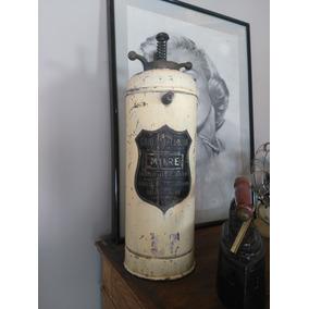 Mata Fuego Extintor Pico Y Placa Bronce Marca Mitre Antiguo