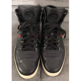 Tenis Gucci Sneakers Guccisima Leather High Top Negros