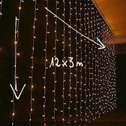 Cortina Luces Led 12x3 M + Controladora 8 Efectos Luz Cálida