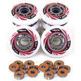 Kit 8 Rodas Crème Patins Roller Inline 76mm + 16 Rolamentos