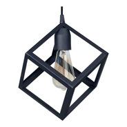 Lampara Colgante Cubo Negro Vintage 23x29cm C 1007