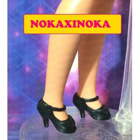 Sapato Pra Boneca Susi Antiga Anos 70 80 * Preto Com Salto