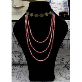 bc89eff11405 Gargantilla Y Collar De 3 Hilos Con Perlas Color Rosa