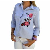 Camisa Rayada Con Flores Bordadas Mujer The Big Shop