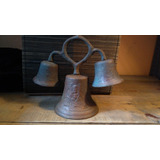 Campana De Bronce Antigua Triple Grabada Con Arte Sacro