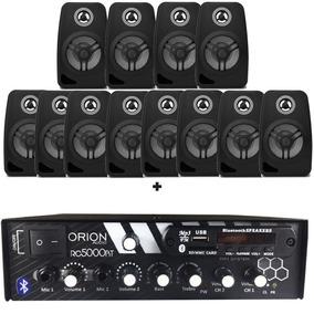 Kit Som Ambiente 300w Bluetooth +12 Caixas Parede Pretas