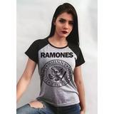 Camiseta Feminina Ramones - Blusa Baby-look Raglan Rock