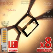 Aplique Pared Exterior Metal Fachada Efecto Led 10w Pack X8u