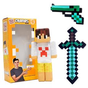 Boneco Cronos Play Minecraft Original + Espada + Pistola