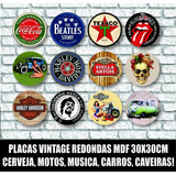Placas Redondas Antigas Vintage Retro Carros Bebidas 30x30cm