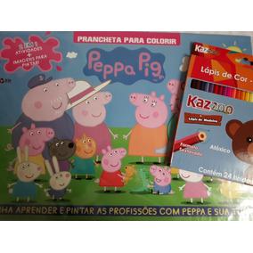 Kit Infantil Lápis De Cor 24 Cores+revista Colorir Peppa Pig