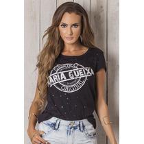 Blusa Preta T-shirt Original Maria Gueixa Ref 4183