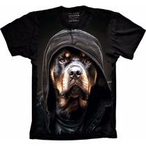 Camisa Rottweiler 3d Com Touca Feminina Masculina Infantil