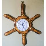 Reloj De Pared Timón De Madera Barnizada.