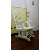 Cadeira Amamentar Com Balanço Maciça Laqueada Branca Nova