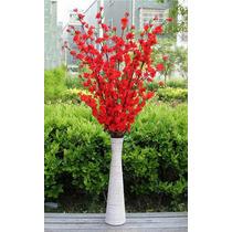 12 Hastes Pessegueiros Artificiais Vermelho Cerejeira Flores