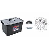 Caixa Container Organizador Plastico Multiuso 50 L Preto