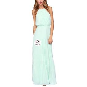 Vestido Moda Coreana Largo De Gasa, Estilo Plisado Mod.r031