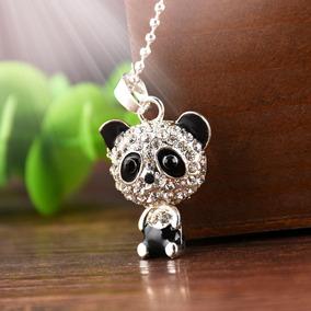Collar Dama Cadena Plata Color Panda Cristales Collares Moda