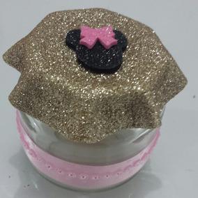10 Potes De Papinha Personalizado Decorativo Minnie Rosa