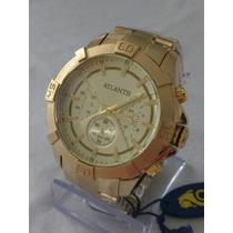 Relógio Masculino Dourado Grande Atlantis Sports Original