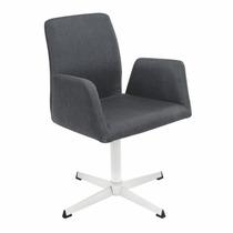 Poltrona Cadeira Decorativa Giratória Sit Cinza