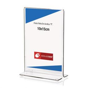 Display De Mesa T Em Acrílico A6 10x15 - Kit 10 Peças