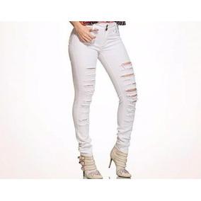 Calça Jeans Hot Pants Reveillon Branca Ano Novo Rasgada