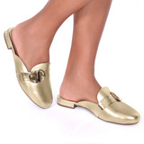Mule Modare Sapato Dourado Metalizado Conforto Ref:7503.101