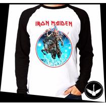 Manga Longa Iron Maiden Banda Metal Rock Blusa The Trooper