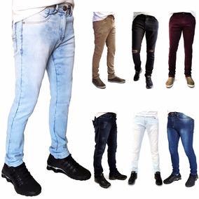 Calça Masculina Colorida Lycra Skinny Jeans Sarja Promoção